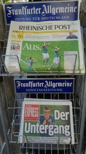 ドイツが負けて、ワールドカップ大敗が決まったときの翌日の新聞記事